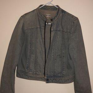 Vintage style denim moto jacket